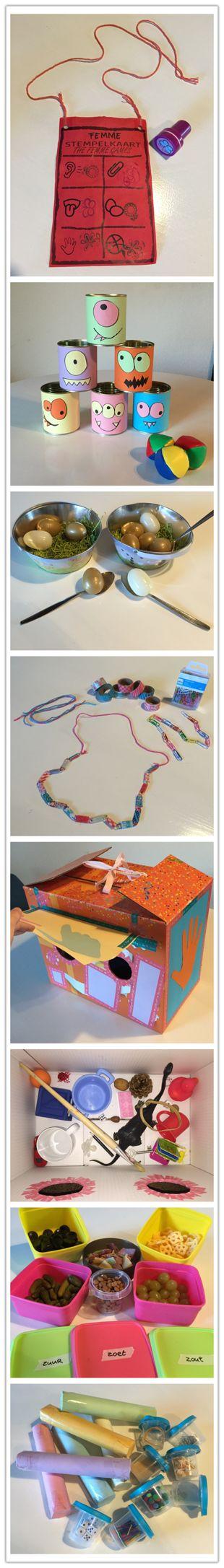 Verjaardagsfeestje kinderfeestje activiteiten spellen spelletjes kleuter (bal blik gooien, ei lopen, ketting maken, voeldoos, soundtubes, proeven)