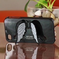 Advanced Design SGP Angel Wing Stander Hard case for iPhone 4 4S (Black)
