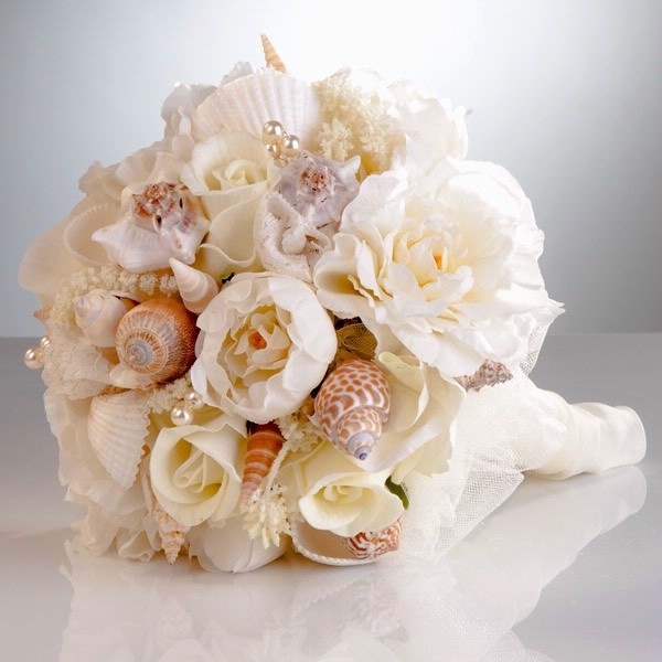Sea Shell And Flower Bouquet So Beautiful For A Beach Wedding