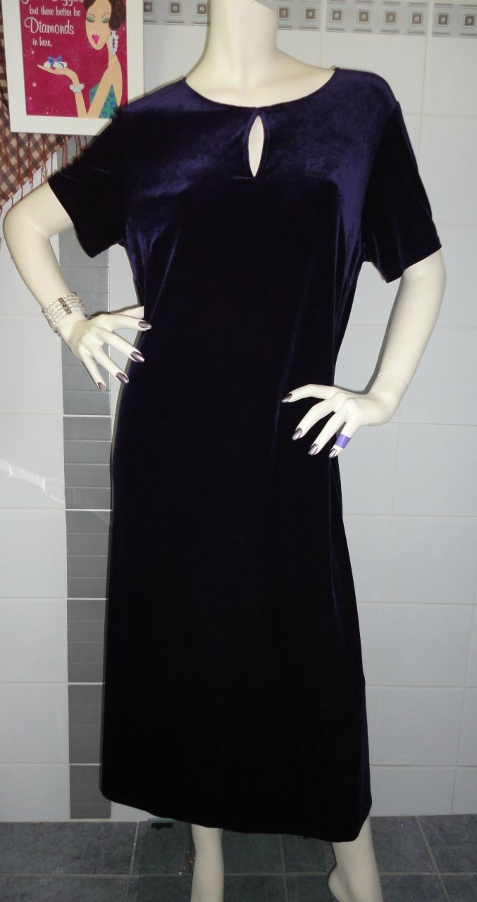 Marks & Spencer deep purple velvet-look dress with cutout chest detail and super soft fabric you'll definitely feel elegant in this dress.
