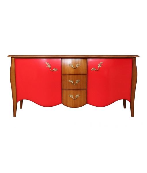 Shaped sideboard in cherry colour and red decorations. Product code: FI76