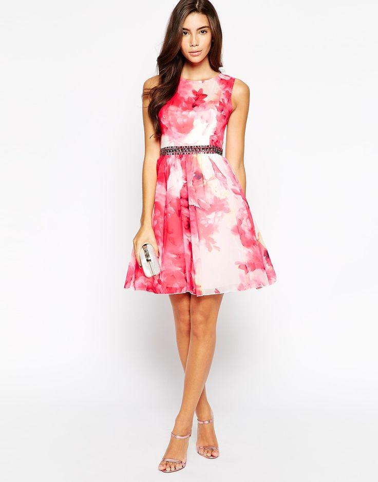 Image 4 ofLittle Mistress Petite Prom Dress In Rose Print