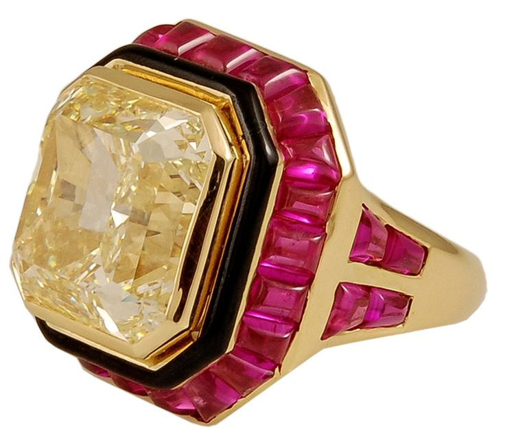 David Webb 15.08 Carat GIA Cert Natural Fancy Yellow Diamond Ring | From a unique collection of vintage fashion rings at https://www.1stdibs.com/jewelry/rings/fashion-rings/