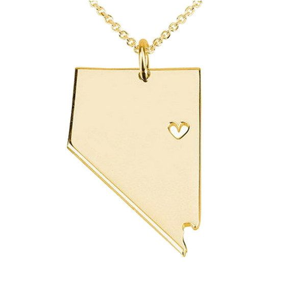 42 best state necklaces images on pinterest state necklace gold nevada state shaped necklace with a heartnv state charm pandentnevada state aloadofball Images