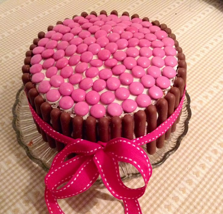 Pink Smartie cake for wear it pink / bake off day at work...cant wait to cut it...
