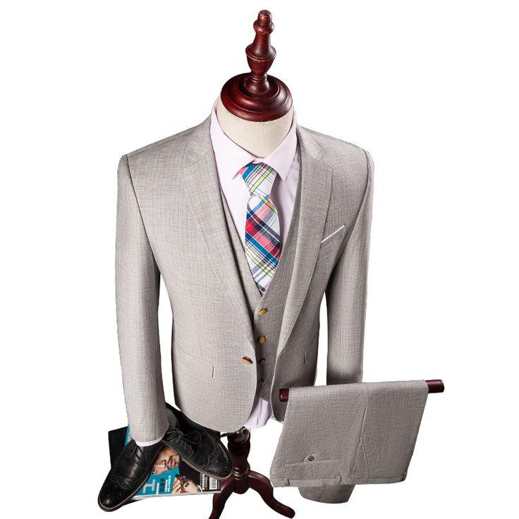 Hot Sale 2016 New Brand Striped Men Suits For Wedding One Button Slim Fit Tuxedos For Men 3 Pieces(Jacket+Vest+Pant)