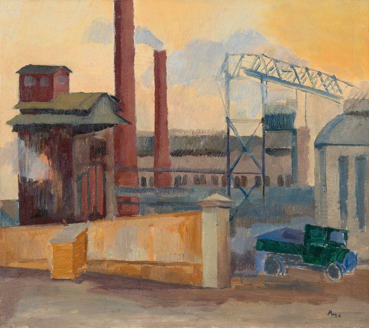 """KAASIKSEN KUORMURI"" by Unto Pusa (18 January 1913 - November 8, 1973), Finnish painter and professor (1969). | http://fi.wikipedia.org/wiki/Unto_Pusa || https://www.bukowskis.com/fi/auctions/F170/441-unto-pusa-gasfabrikens-lastbil"