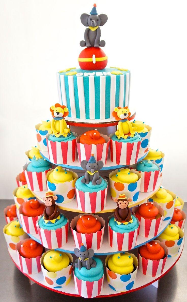 Circus Cupcakes Carnival birthday cakes, Circus birthday