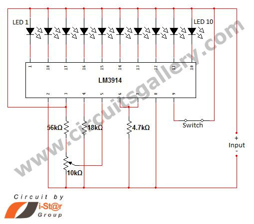 Led Dot Display Based Battery Charge Level Indicator Circuit Diagram