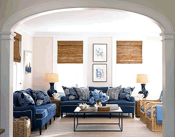 roman shades with navy couches