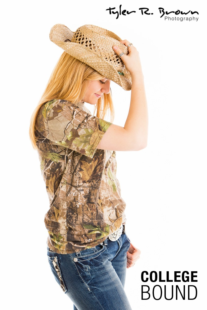 Alex Schenck - Shattuck St. Mary's - Class of 2013 - #seniorportraits - Studio - Frisco - Camo - Cowboy Hat - White Seamless - Tyler R. Brown Photography