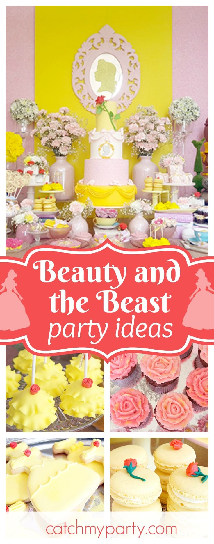 Be our Guest at this beautiful Beauty and the Beast Birthday Party!! The cake pops are adorable!! See more party ideas and share yours at CatchMyParty.com