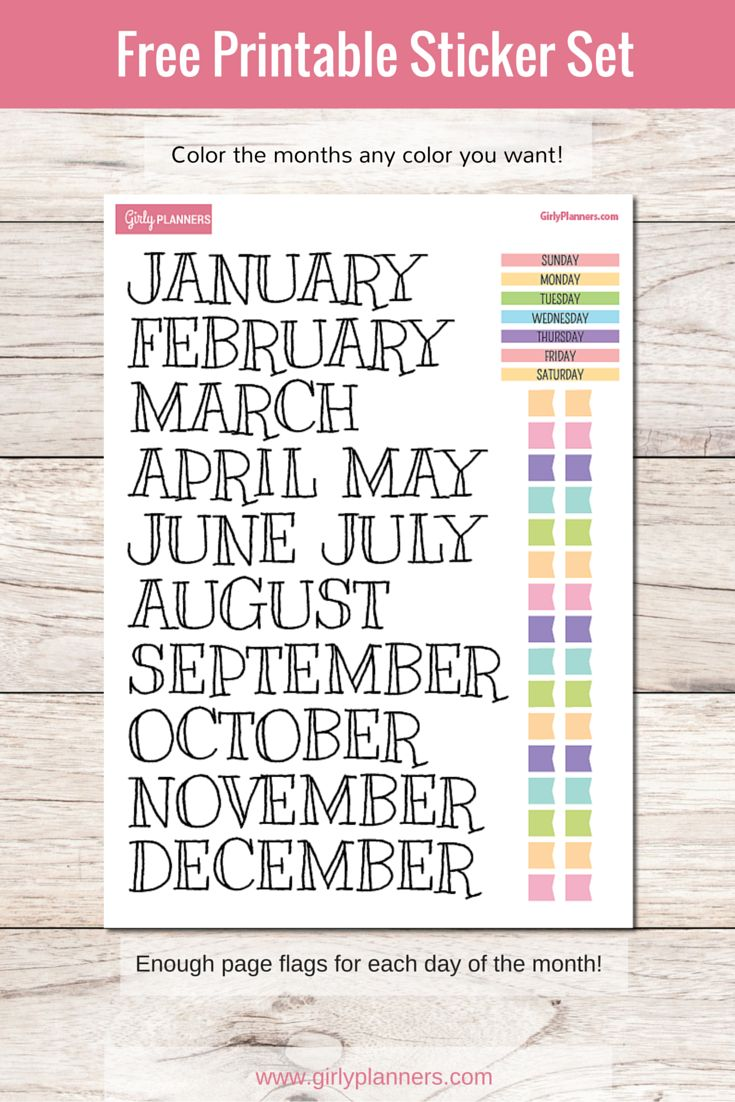 free printable sticker set for your planner or bullet journal months days of the - Printable Printable