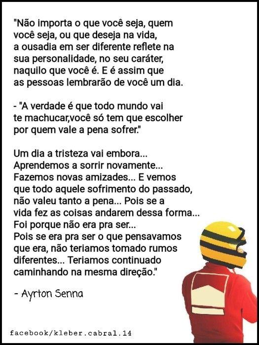 Pin De Michelle Costa Em Frases Textos Ayrton Senna E Pasta