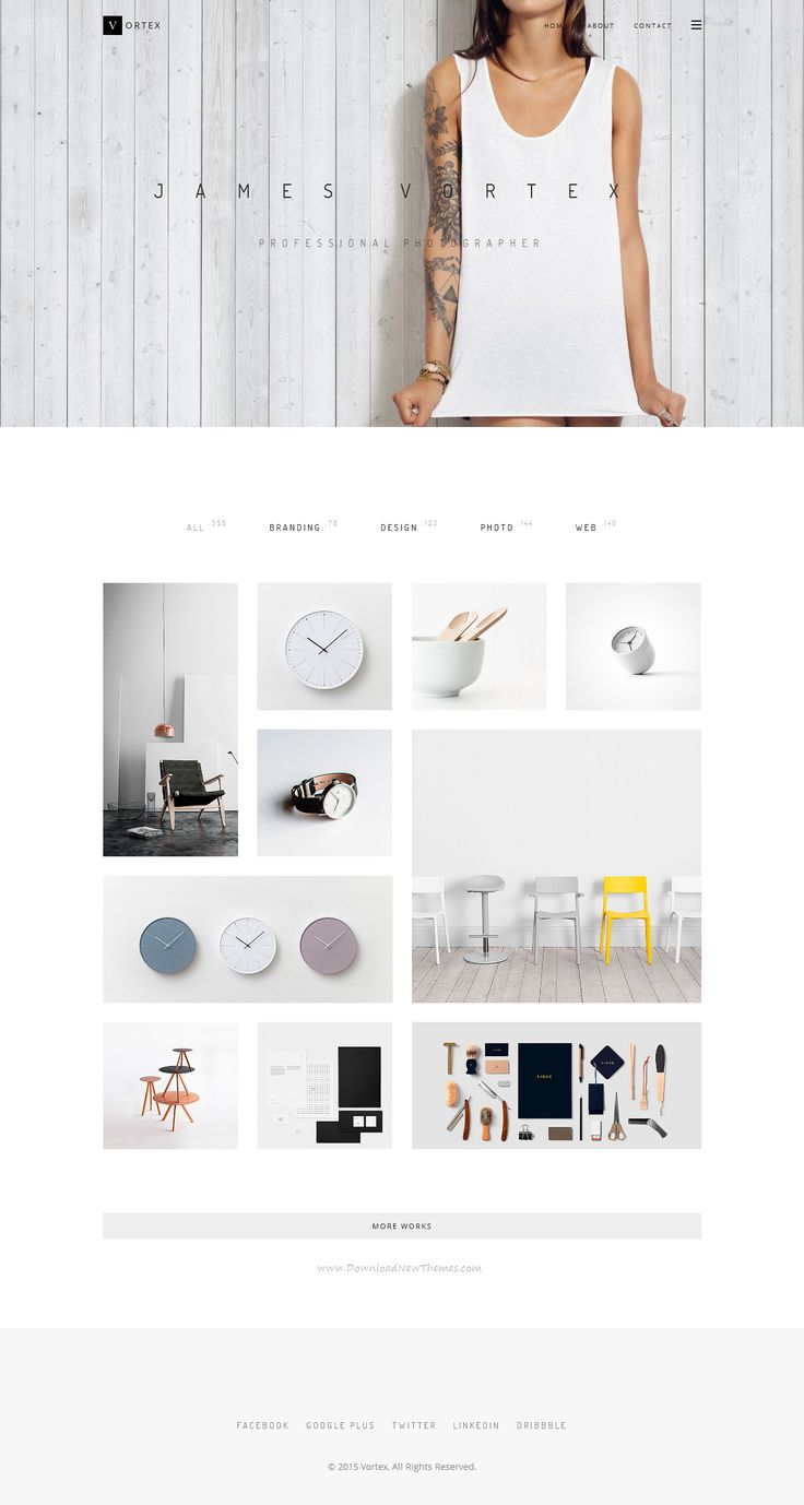Vortex is clean ajax responsive portfolio template.  Vortex has 7 home page variants, working Ajax portfolio loading, 8 single #portfolio pages, grid and masonry blog, a plurality of components, working contact form. #website