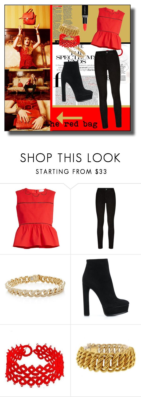 """""""The Red Bag"""" by kelly-floramoon-legg ❤ liked on Polyvore featuring RED Valentino, Paige Denim, Sydney Evan, Casadei, NOVICA, Buccellati and Smashbox"""