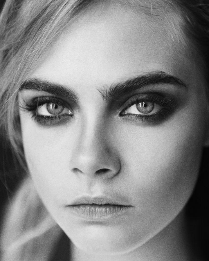 Closeup Portrait Of A: Model Cara Delevingne Closeup In Black & White! I Love