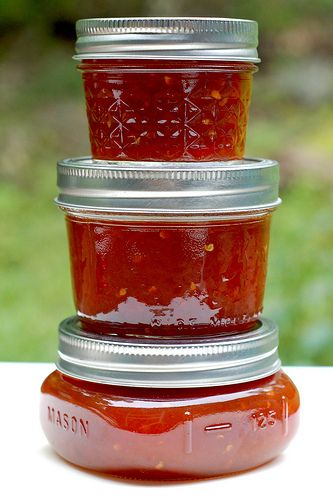 Three jars of tomato jam by Eve Fox, Garden of Eating blog, copyright 2011 by Eve Fox, via Flickr