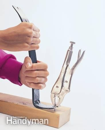 Remove a headless nail with vice grips and a pry bar.
