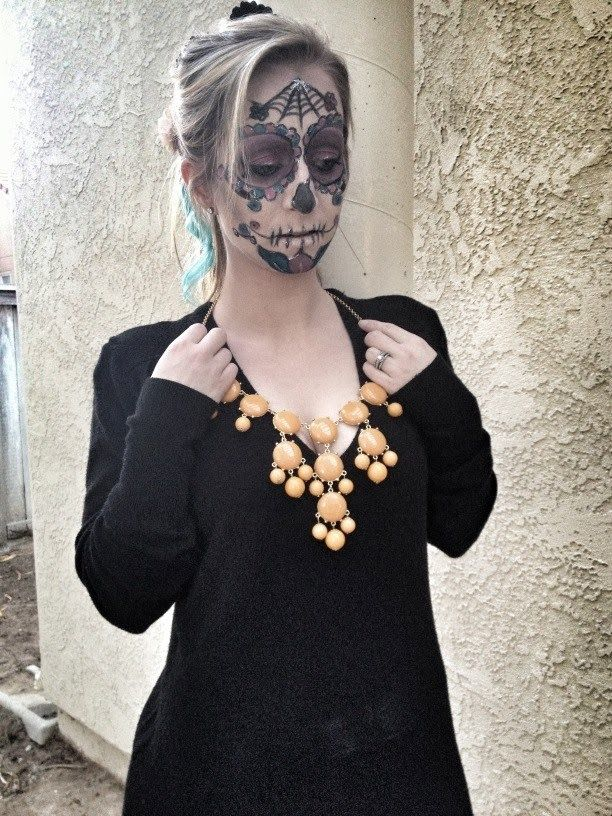 Living Dead Girl, but with the most awesome Tangerine Orange Bauble Necklace!