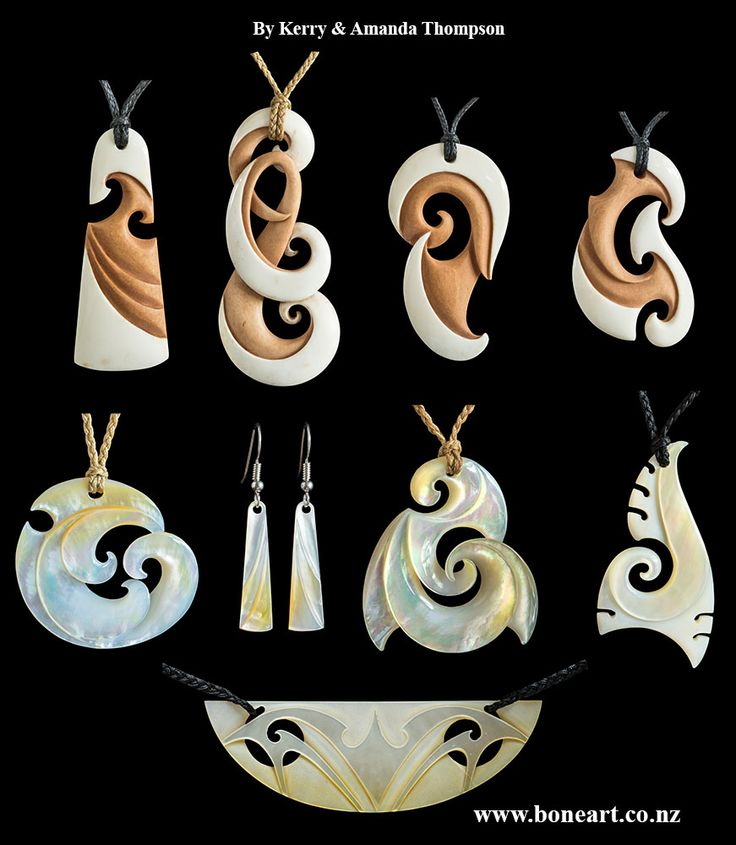 Pearl shell and bone carvings by New Zealand master carver Kerry Thompson       www.boneart.co.nz