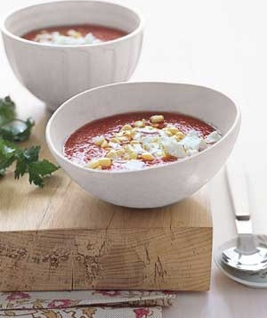 Gazpacho With Goat Cheese Recipe: Dinner, Tasty Recipe, Cities Foodies, Cooking Recipe, Gazpacho, Eating, Summer Soup, Goats Cheese, Goat Cheese