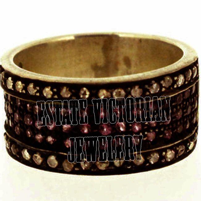 Amazing Estate Vintage 1.06Ct Rose Cut Diamond Silver Ruby Eternity Ring Jewelry #estateVictorianJewelery #AntiqueFinishedDiamondGemstoneRingBand