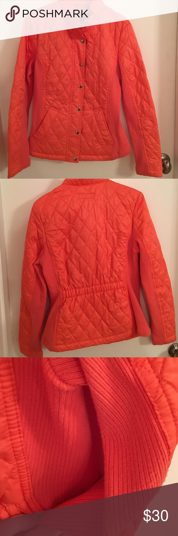 Orange Quilted Jacket Great for a UT game! Or, just as a super cute orange jacket. There is slight pilling, and a small mark on front near fourth button. No trading. Merona Jackets & Coats Puffers
