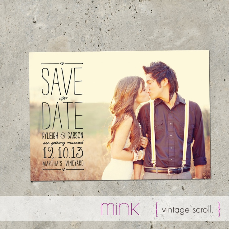 "photo save the date postcard - ""Vintage Scroll"". $64.00, via Etsy."