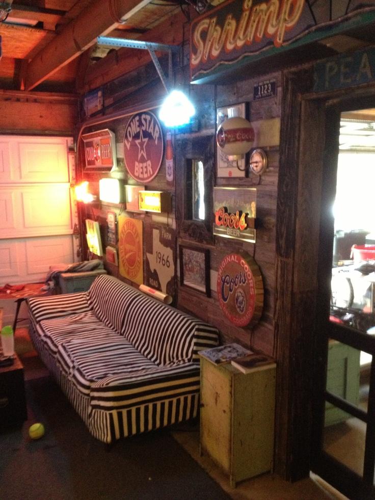 Retro Couch In Garage Bar