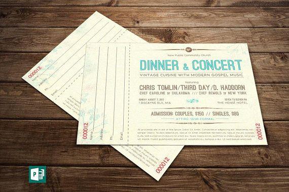 Vintage Dinner Concert Ticket Publisher Template 6 Extra