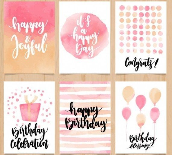 Abstract Watercolor Birthday Card Collection Vector Free