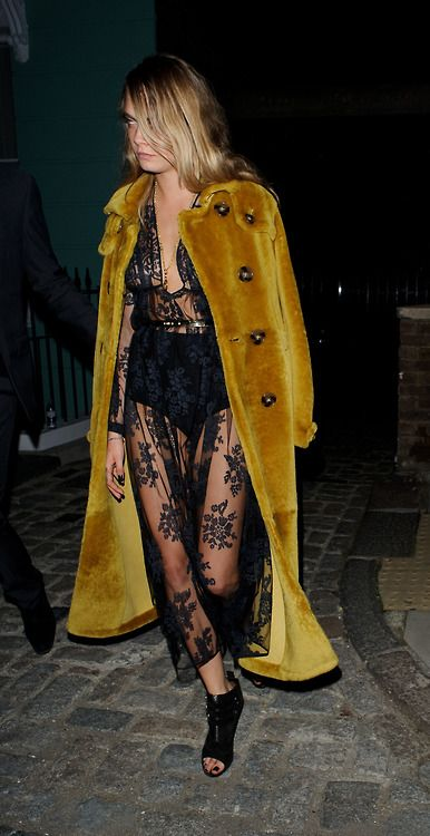 *.* Cara Delevingne in a long fuzzy coat & sheer lace dress #style #fashion #celebrity. Lace & black