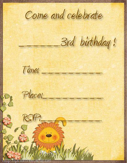 3rd birthday invitations, free printable party invitation, free birthday party invitations