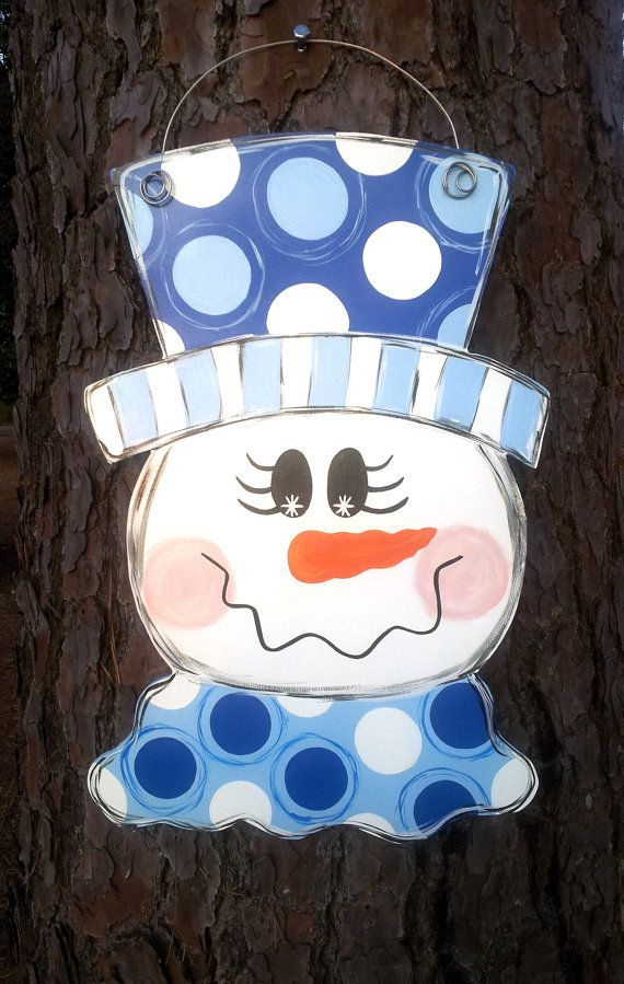 Snowman. Tall hat. Christmas Door Hanger. Customizable. on Etsy, $40.00