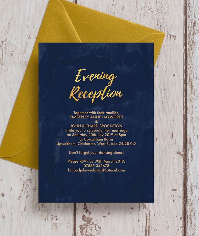 Beautiful navy blue and gold wedding stationery with textured effect midnight blue background and faux-foil gold lettering / calligraphy and details. This modern and simple collection includes save the dates, invitations / invites, RSVP / reply cards, guest information cards, gift wish / poem cards, table names and numbers, place cards, menus, and more. Personalise with your own text online and purchase as an instant printable PDF or order professionally printed & delivered for a luxury…