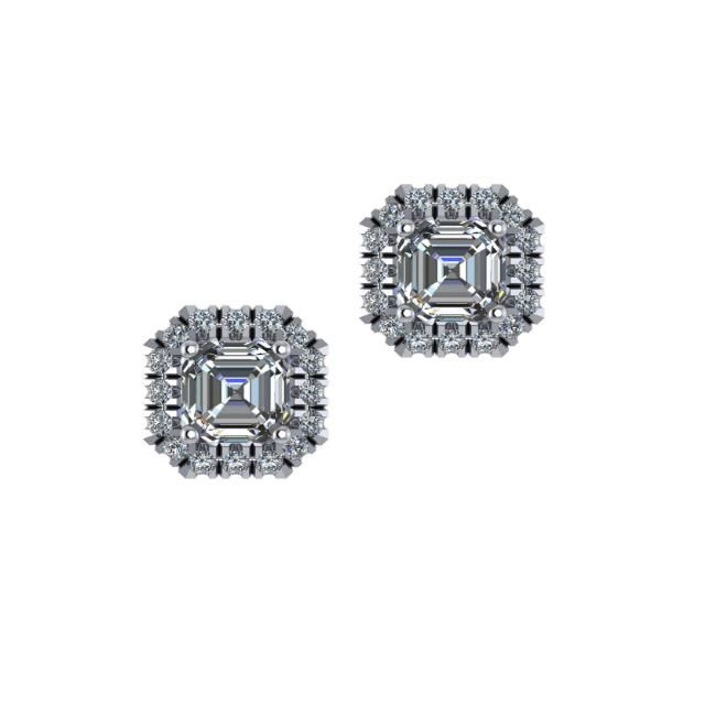 1.00 ctw Asscher-Cut Moissanite & Diamond Halo Stud Earrings 14k White Gold, Raven Fine Jewelers, Anniversary Gifts, Custom Jewellery, Half Carat Moissanite Earrings, Diamond Halo Studs, Supernova Moissanite