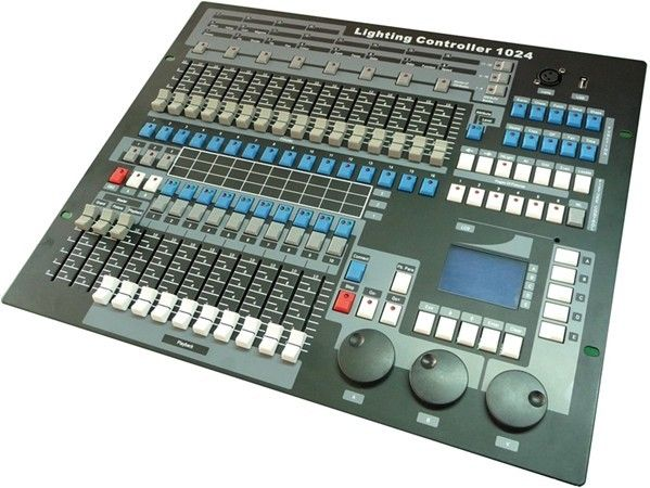 This is used to change the lights. Can change colour, what lights you use and how light/dim the lights are.  http://image.made-in-china.com/2f0j00GjdtyKBlkuoM/DMX-Lighting-Controller-Console-Equipment-Pearl-1024-for-Moving-Head-Light-Stage-Lights-DJ-with-Flycase-Packing.jpg