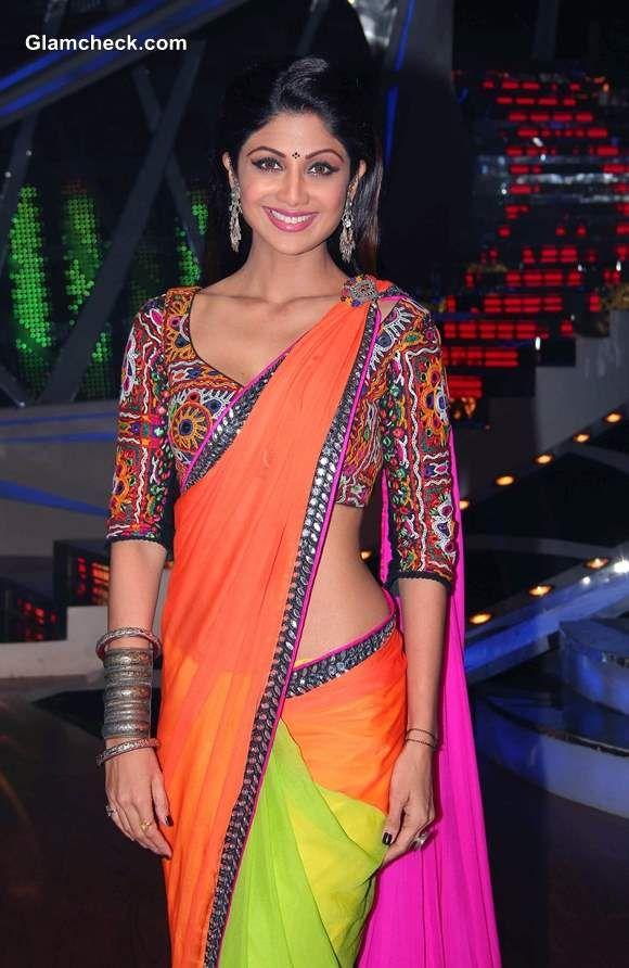 Shilpa Shetty in Nishka Lulla http://Nisshk.com/ Bright Color Block Saree w/ Tribal Embroidered Blouse @ Nach Baliye 6, Dec, 13