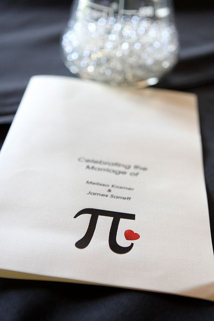 In honor of Pi Day - an awesome Pi/Pie-themed wedding