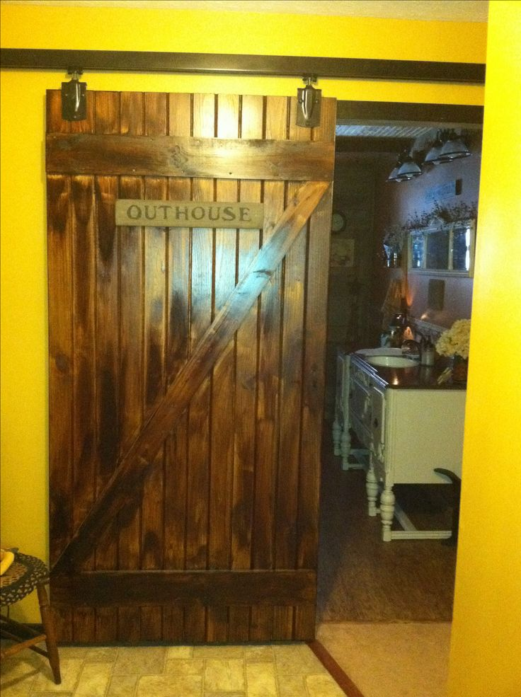 Homemade Barn Slider Door To Primitive Bathroom Our
