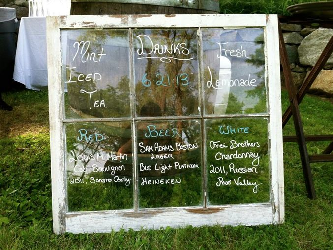 Wedding drink menu on old window