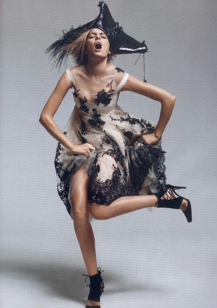 Fleurs du bal  Harper's Bazaar UK, December 2006  Photographer: Satoshi Saïkusa  Model: Cameron Russell  Dress: Alexander McQueen, Fall 2006