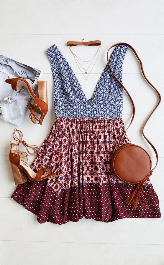 loving this BOHO plunge neck dual patterned dress and matching accessories #lovelulus