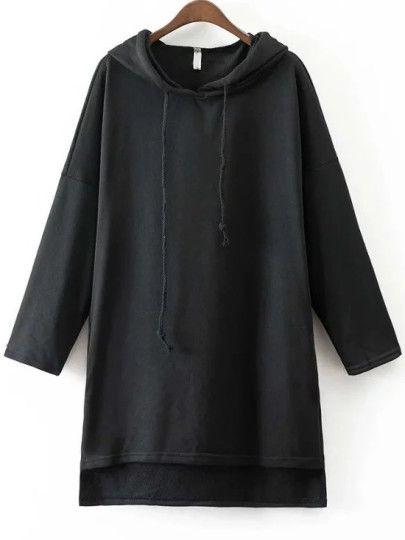 Sudadera asimétrica con capucha - negro