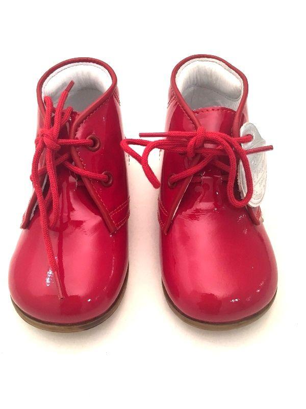 Buciki Marki Emel 2393 1 Czerwone Lakierowane Rossa Kids Baby Shoes Marki Shoes