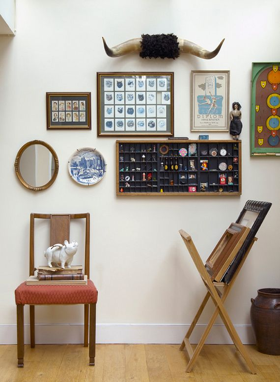 mix and match items for an eclectic wall display