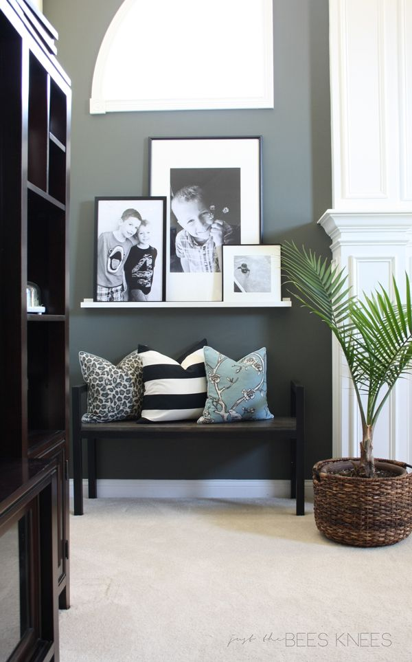 just the bee's knees: Holly & Martin furniture review and a Giveaway! Love the wall color and photo ledge