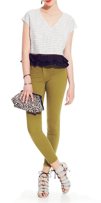 DAY 19: OLIVE IS YOUR NEW NEUTRAL An unexpected option in place of blue? Olive — try it with animal-print trimmings. Sachin + Babi viscose-cotton-polyester top, $325;  Henry & Belle denim jeans, $158;  Mawi crystal and hematite plate earrings, $435;  Vita Fede Swarovski crystal and silver plate bracelets, $290–$350;  ZAC Zac Posen calf hair clutch, $325;  Loeffler Randall embossed leather sandals, $395;