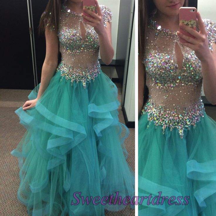 Sexy turquoise tulle round neck see-through high low prom gown, sparkly party dress for teens, prom dress 2016, layered evening dress -> sweetheartdress.s... #coniefox #2016prom